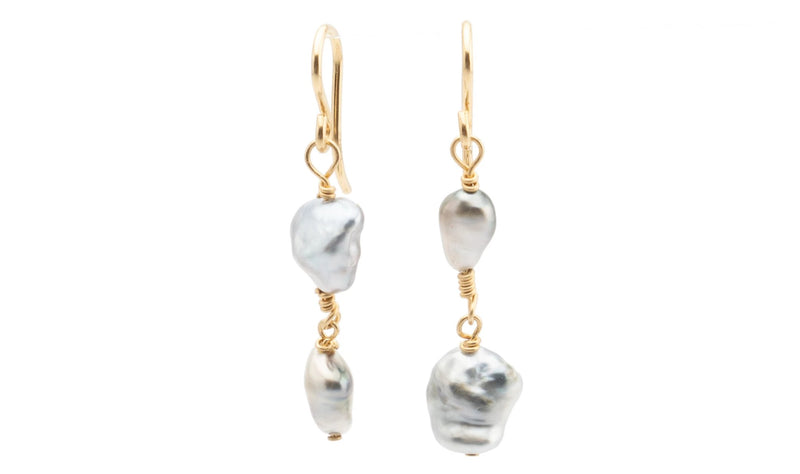 Tahitian keshi pearl double dangle wire wrap earrings