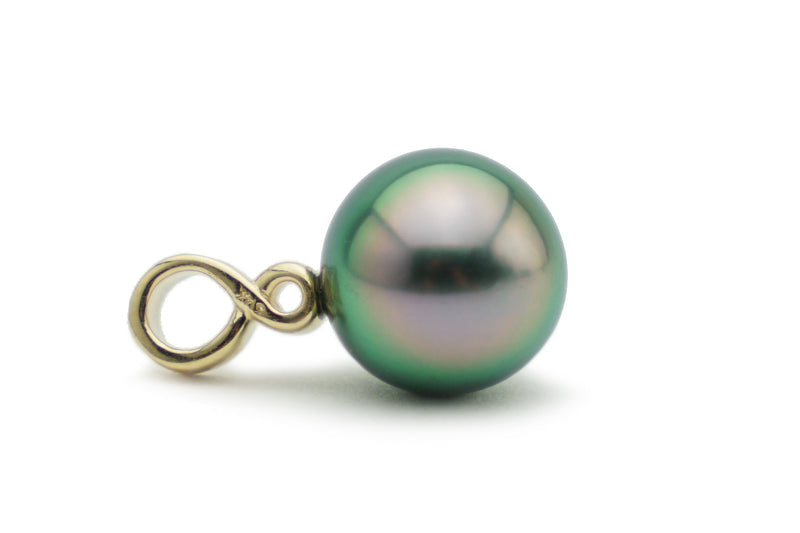 Flashy colorful peacock green Tahitian pearl infinity bail.