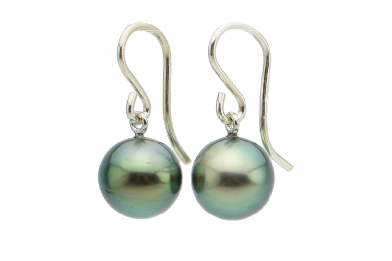 Bright green Tahitian pearl earrings on Sterling silver
