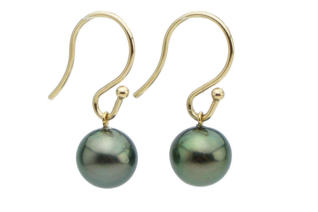 Dark true green Tahitian pearl dangle hook earrings