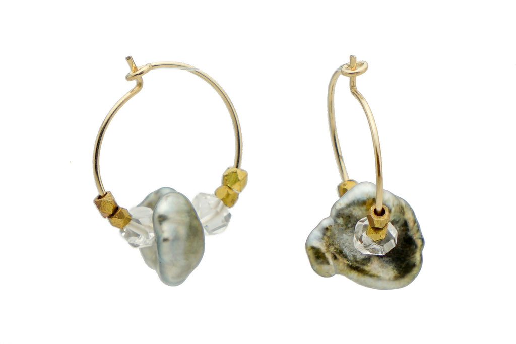 Tahitian Keshi Pearl & Herkimer Diamond Hoop Earrings