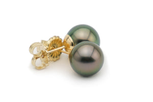 Peacock green Tahitian pearl stud earrings