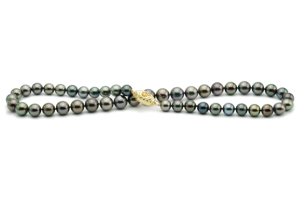Purple Tahitian pearl round necklace strand