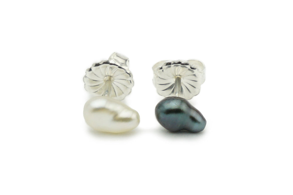 Black and White Tahitian Keshi Pearl Stud Earrings