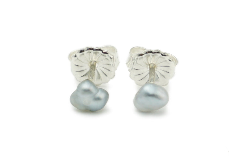 Tiny Light Silver Tahitian Keshi Pearl Stud Earrings