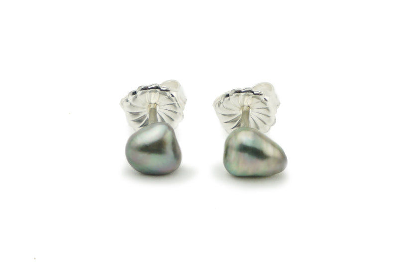 Multicolor Tahitian Keshi Pearl Stud Earrings