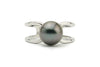 Dark purple blue Tahitian pearl silver ring