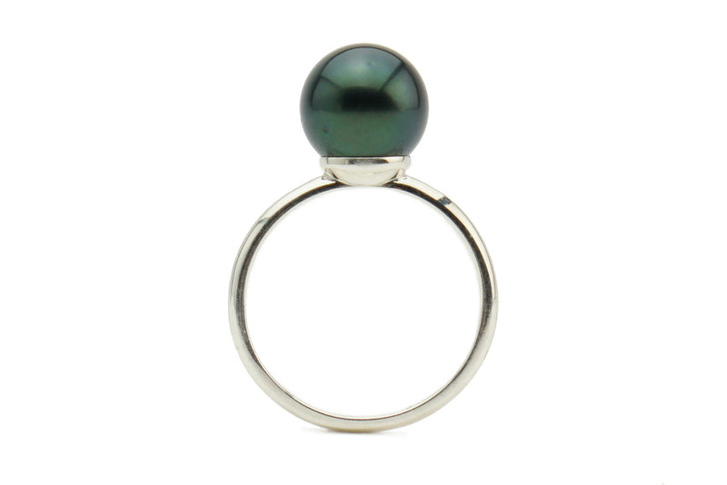 Blue Black Tahitian pearl ring on silver