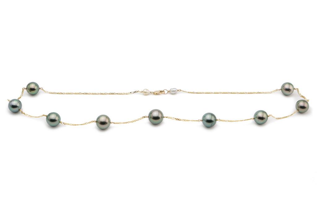 Peacock green Tahitian pearl tin cup station chain necklace