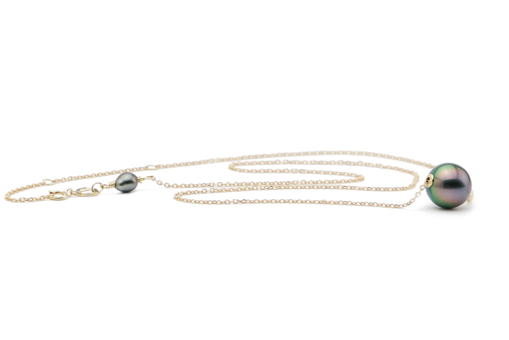 Tahitian pearl rainbow pink chain slider necklace