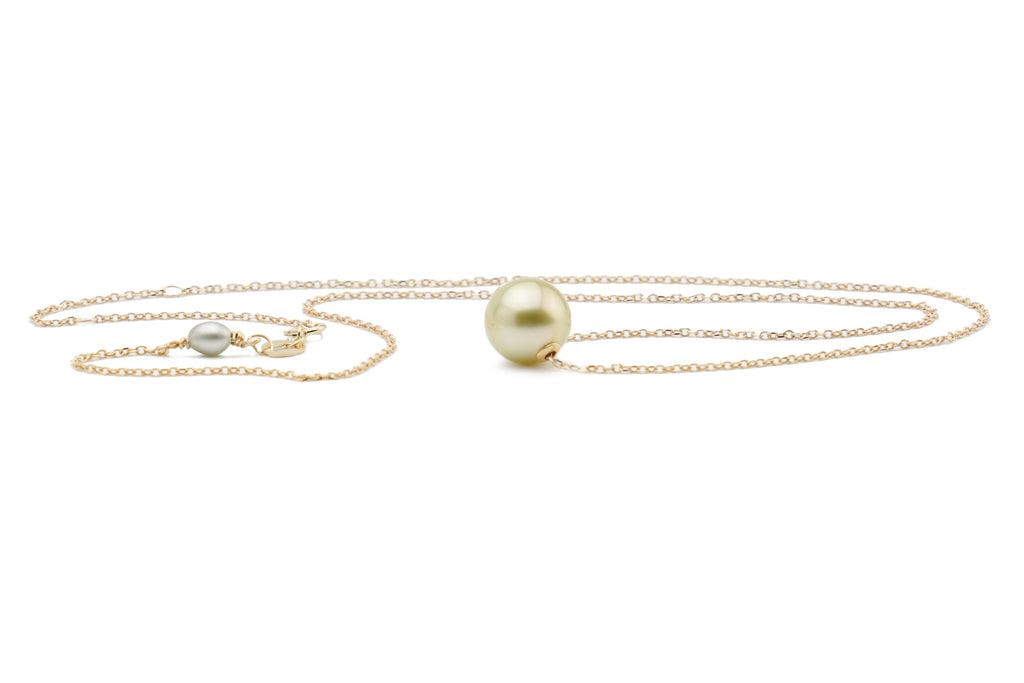 Golden Tahitian solitaire pearl necklace 9mm