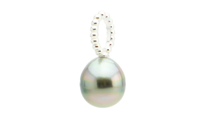 Light pink drop Tahitian pearl pendant on silver beaded hoop