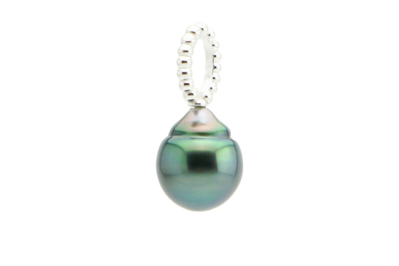 Flashy Green Circles Tahitian Pearl Pendant