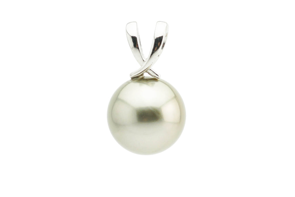 Warm silver taupe 11.5mm round Tahitian pearl pendant white gold