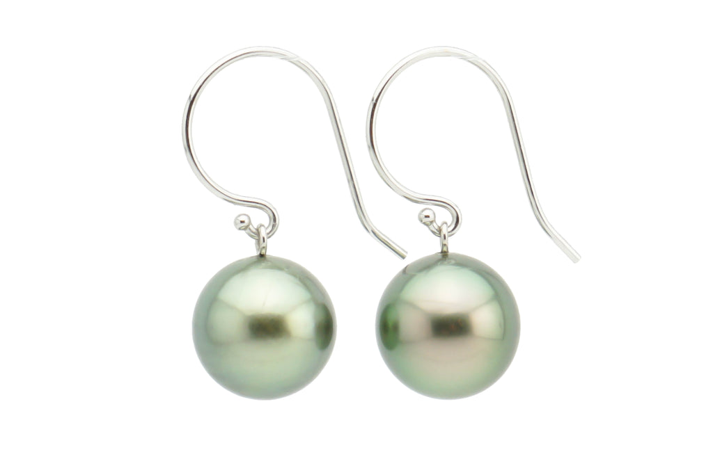 Light green Tahitian pearl dangle earrings on white gold