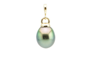 Rainbow green oval Tahitian pearl drop pendant