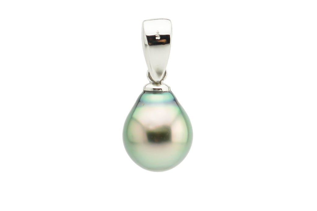 Golden green pear Tahitian pearl drop pendant white gold