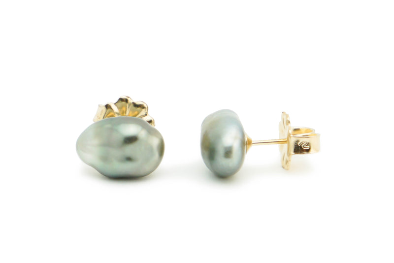 Large Silvery Baroque Tahitian Keshi Pearl Stud Earrings