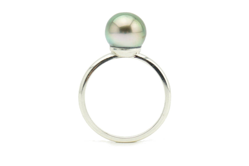 Light green peacock Tahitian pearl ring on Sterling silver