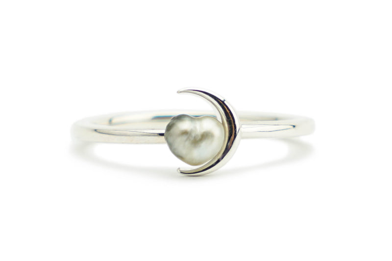 Tahitian heart shaped keshi crescent moon ring