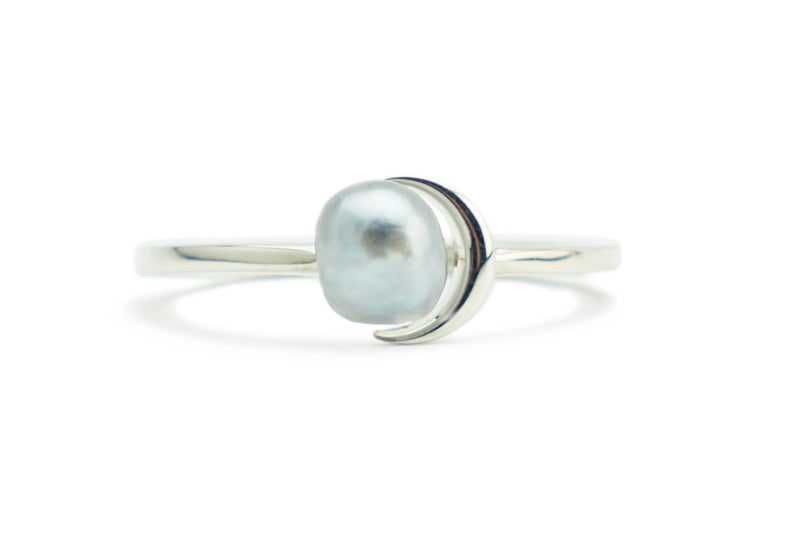 White Tahitian keshi pearl crescent moon silver ring