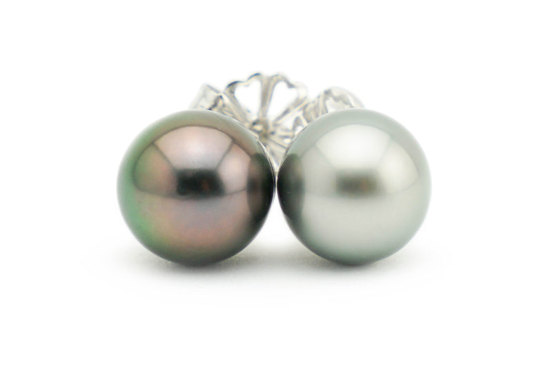 Mismatched black and white Tahitian pearl stud earrings