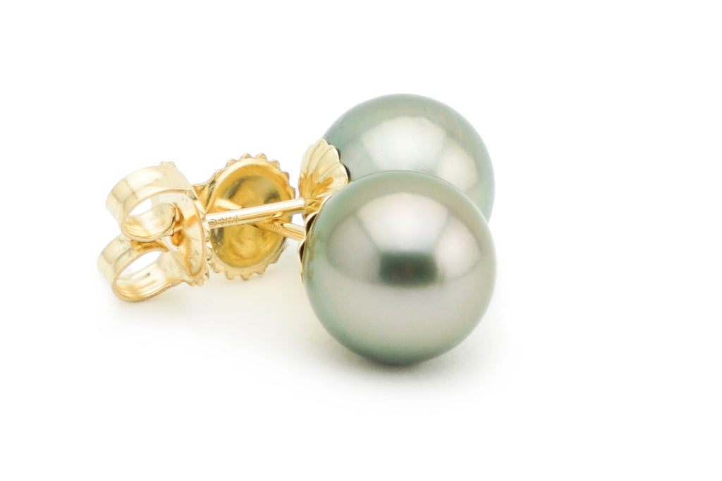 Silver Tahitian pearl stud earrings 9.5mm