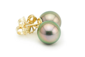 Statement Pink Peacock Tahitian Pearl Stud Earrings