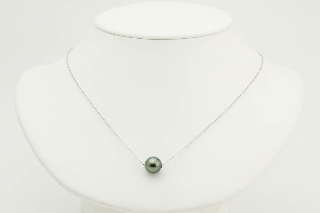 Dark green Tahitian pearl white gold solitaire slider necklace