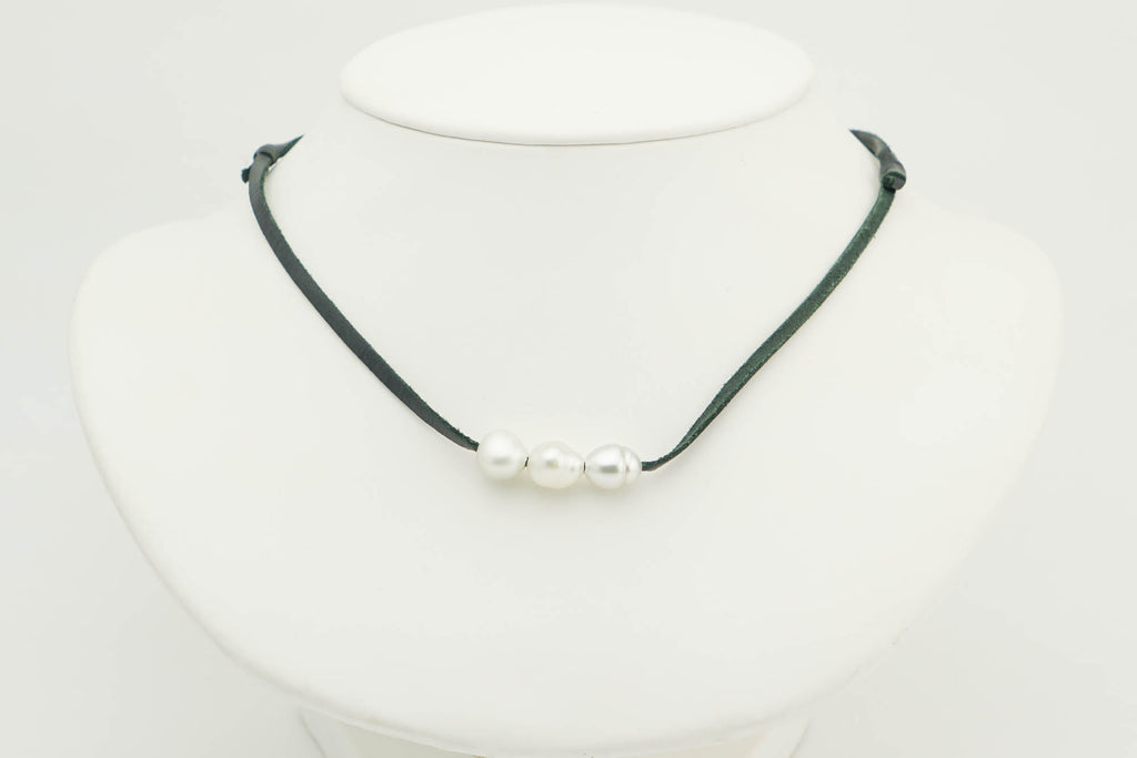 Triple white Tahitian keshi pearl and leather necklaces