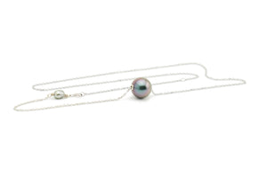 Lavender Blue Tahitian Pearl Solitaire Necklace