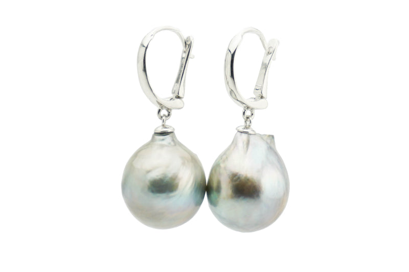 Baroque 15mm Tahitian pearl lever back dangle earrings