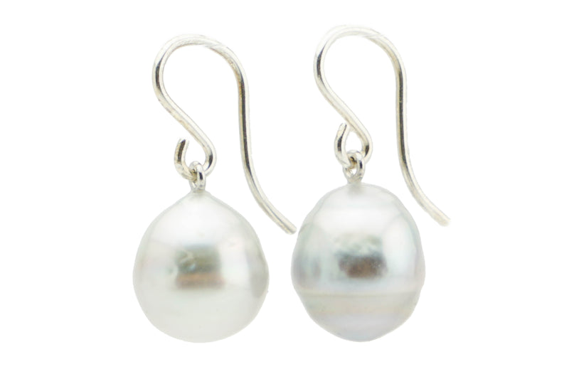 White baroque Tahitian drop 11mm dangle earrings