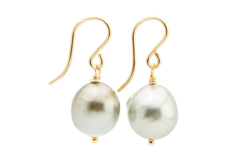 Silvery baroque 10.5mm Tahitian drop pearl dangle earrings