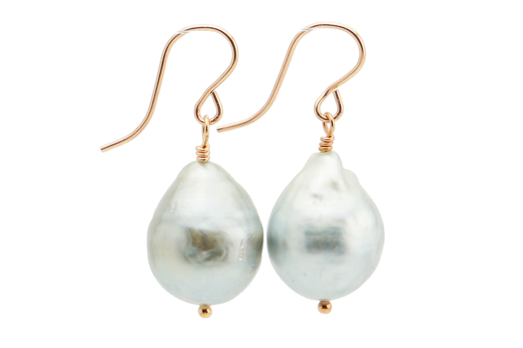 Baroque White Tahitian drop 13mm pearl earrings on rose gold