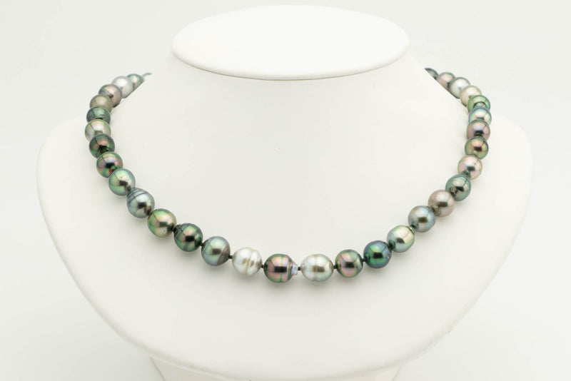 Flashy Rainbow Circled Tahitian pearl necklace