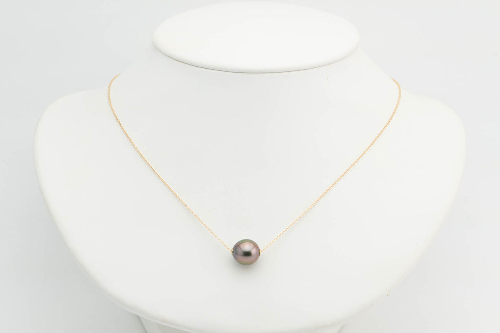Cherry Glow Tahitian Pearl Solitaire Necklace