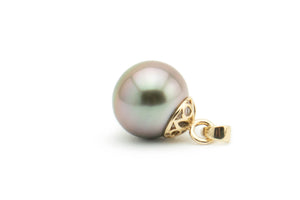 Pink, blue opalescent 11mm Tahitian pearl pendant filigree