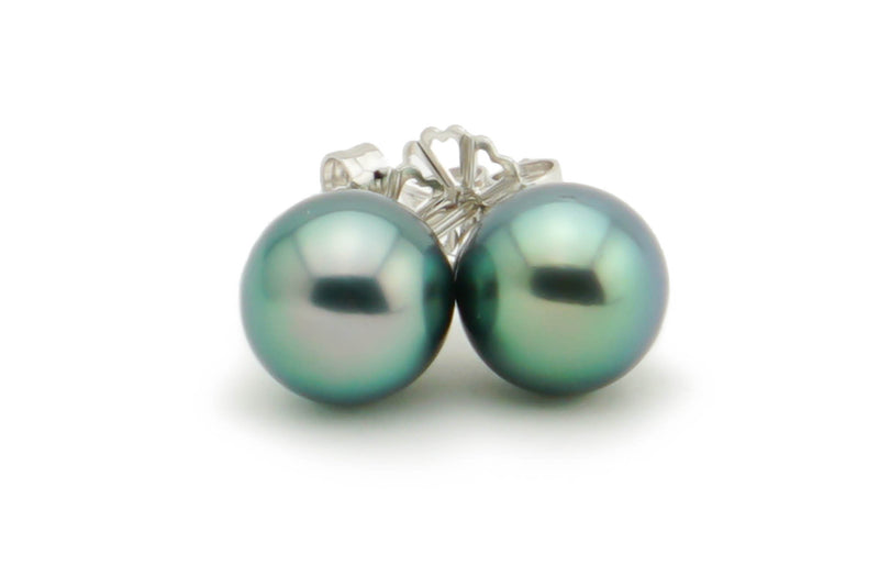 Aqua blue green Tahitian pearl stud earrings 9.5mm