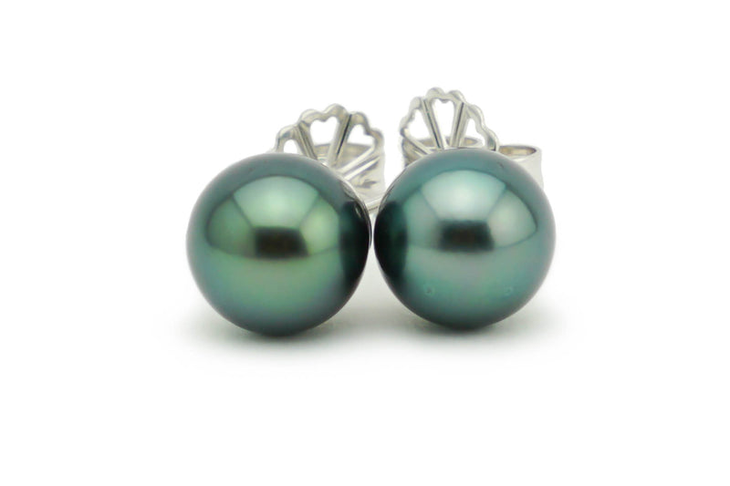 8.5mm blue green Tahitian pearl stud earrings on white gold