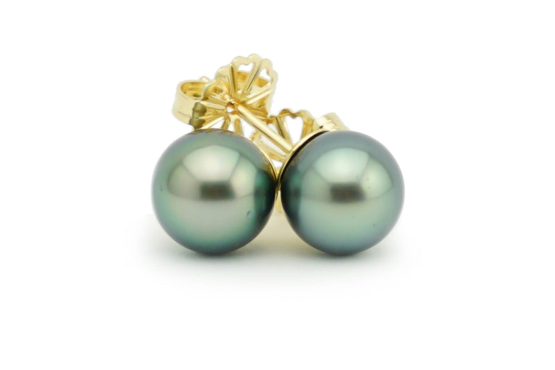 8.5mm green Tahitian pearl stud earrings