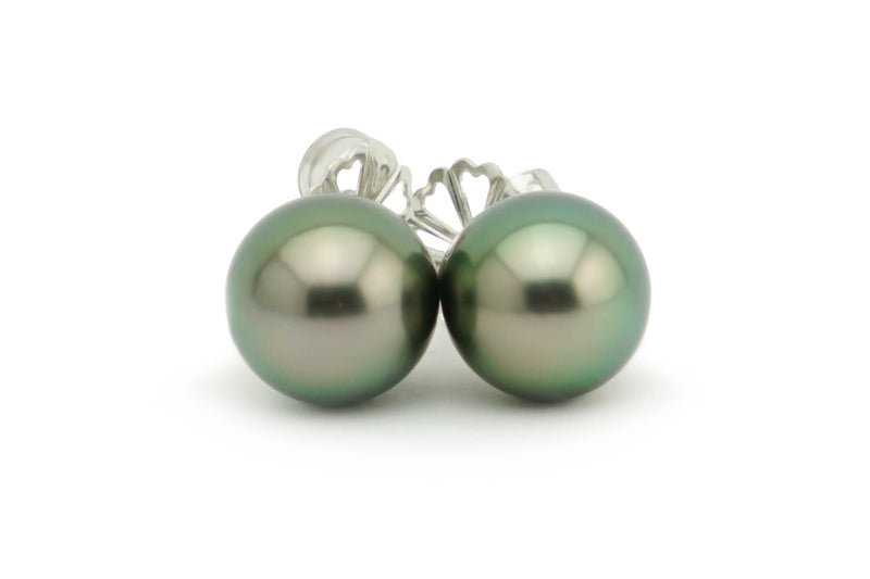 Dark Green Pearl Stud Earrings