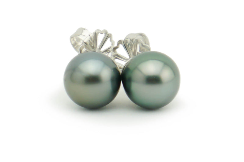Petite Stormy Blue 8.4mm Tahitian Pearl Stud Earrings