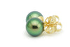 Flashiest Green Tahitian Pearl Stud Earrings