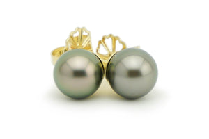 Petite Warm Pewter Pearl Stud Earrings