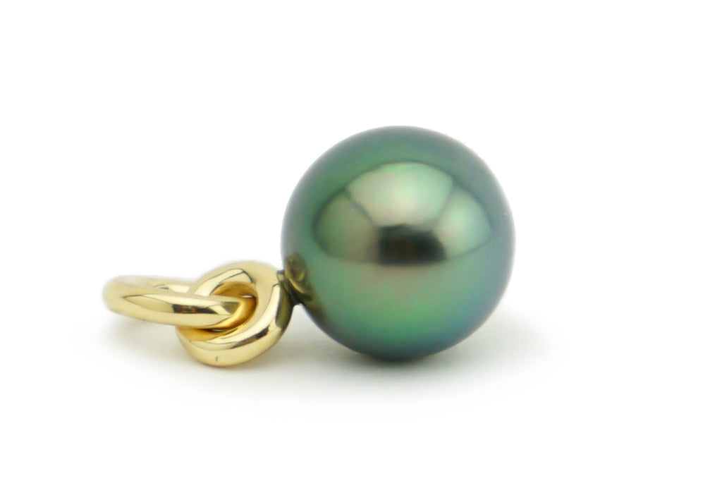 Blue green peacock Tahitian pearl pendant 10.5mm