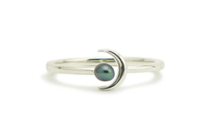 Tahitian Keshi Crescent Moon Ring