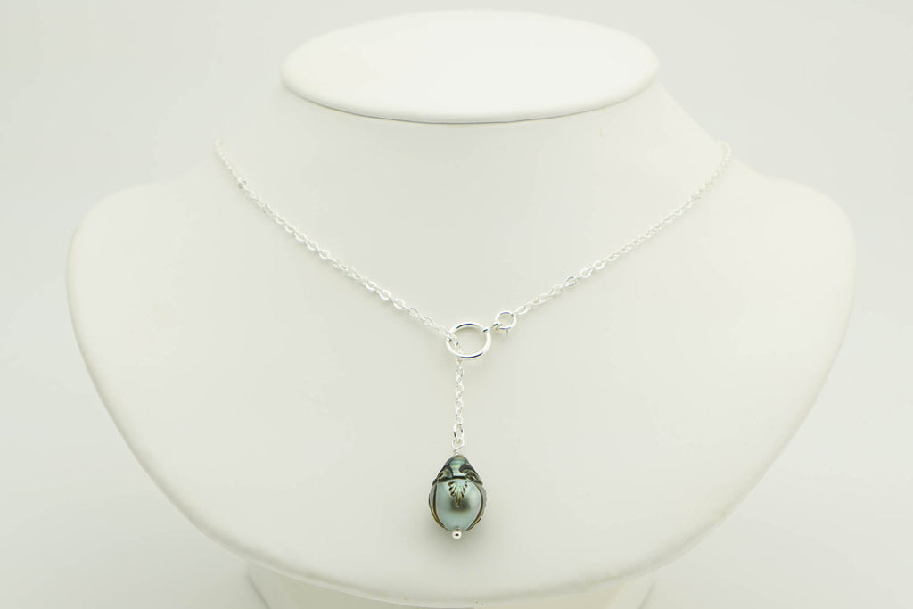 Carved Drop Tahitian Pearl Lariat Chain Necklace