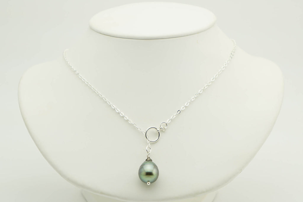 Tahitian Pearl Lariat Chain Necklace