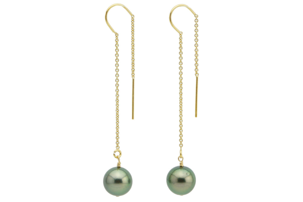 Tahitian pearl threader earrings gold filled